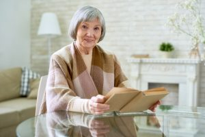 Elegant Senior Lady Reading Book